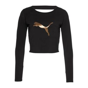 PUMA Funkční tričko 'Luxe Crop'  zlatá / černá