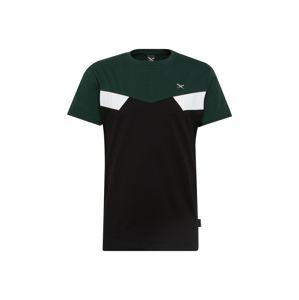 Iriedaily Tričko 'Court Block Tee'  jedle / černá / bílá