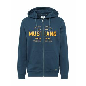 MUSTANG Mikina s kapucí  noční modrá / oranžová