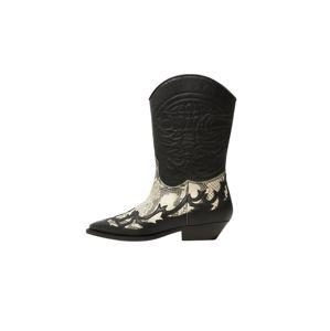 MANGO Kovbojské boty 'Dalton'  béžová / černá