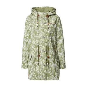 Ragwear Přechodný kabát 'Canny Leaves W'  zelená / bílá