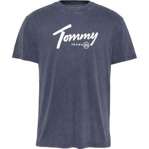 Tommy Jeans Tričko  bílá / kouřově modrá