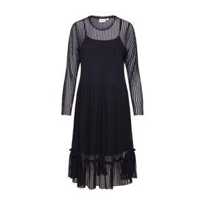 SAINT TROPEZ Šaty 'STRIPED LACE DRESS'  černá
