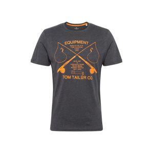 TOM TAILOR Tričko  šedý melír / oranžová