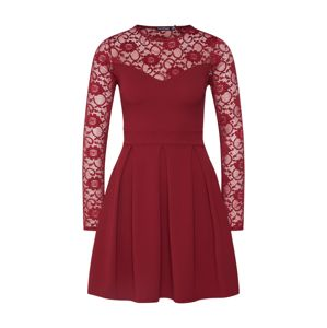 Boohoo Šaty 'Lace Insert Long Sleeve Skater Dress'  červená