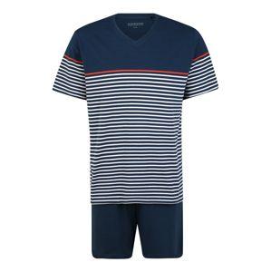 SCHIESSER Pyžamo krátké  tmavě modrá / bílá