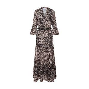 Carolina Cavour Šaty 'Animal Print  maxi dress'  béžová / hnědá / černá