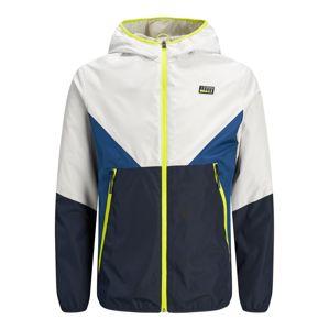 JACK & JONES Přechodná bunda  bílá / tmavě modrá / svítivě žlutá