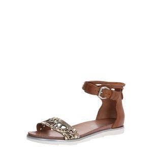MJUS Páskové sandály 'KATANA'  zlatá / hnědá