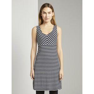 TOM TAILOR Letní šaty  bílá / námořnická modř