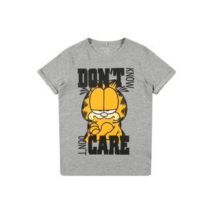 NAME IT Tričko 'Garfield'  černá / zlatě žlutá / bílá / šedý melír
