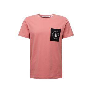 Calvin Klein Jeans Tričko  šedá / růžová / černá