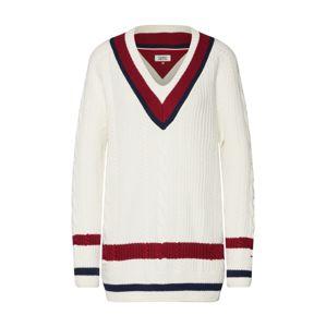 Tommy Jeans Svetr  námořnická modř / vínově červená / bílá