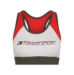 Tommy Sport Sportovní podprsenka 'BLOCKED BRA MID CO/E'  tmavě zelená / ohnivá červená / bílá