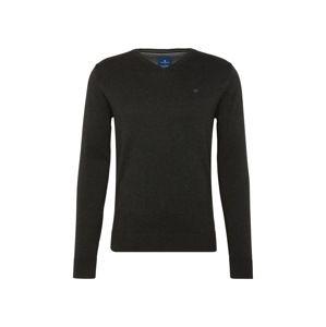 TOM TAILOR Svetr 'basic v-neck sweater'  antracitová