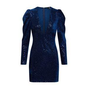 Missguided Koktejlové šaty 'Sequin Velvet Plunge Front Long Sleeve Mini'  námořnická modř