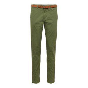 SCOTCH & SODA Chino kalhoty 'Stuart in peached twill with belt'  khaki