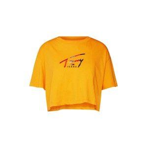 Tommy Jeans Oversized tričko 'TJW CROPPED TOMMY SCRIPT TEE'  žlutá / mix barev