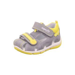 SUPERFIT Otevřená obuv 'FREDDY'  šedá / žlutá