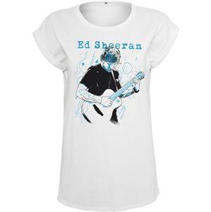 Merchcode Tričko 'Ed Sheeran Guitar'  nebeská modř / černá / bílá