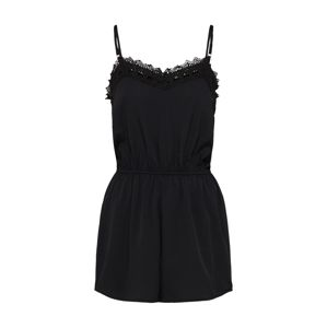 Boohoo Overal 'CLAIRE CROCHET TRIM OPEN STRAPPY PLAYSUIT'  černá