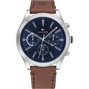 TOMMY HILFIGER Analogové hodinky  marine modrá / hnědá / stříbrná