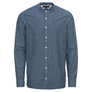 TOMMY HILFIGER Košile 'SLIM CO/LI MICRO PRINT SHIRT'  tmavě modrá