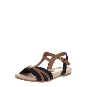 TOM TAILOR Páskové sandály  hnědá / námořnická modř