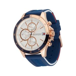 TOMMY HILFIGER Analogové hodinky  zlatá / enciánová modrá / bílá