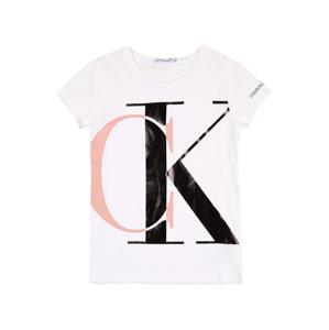 Calvin Klein Jeans Tričko  bílá / černá / růžová