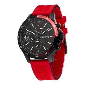 TOMMY HILFIGER Analogové hodinky  černá / červená