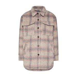 Neo Noir Přechodná bunda 'Pike Melange Check Jacket'  béžová / světle šedá / růžová