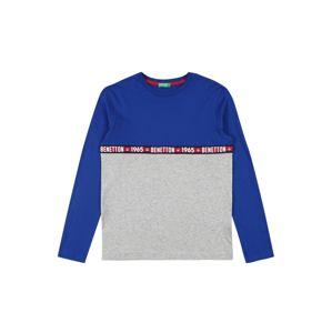 UNITED COLORS OF BENETTON Tričko  královská modrá / světle šedá / černá / bílá / červená
