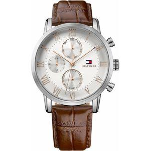 TOMMY HILFIGER Analogové hodinky 'Sophisticated Sport'  stříbrná / hnědá