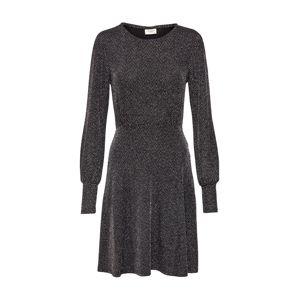 JACQUELINE De YONG Šaty 'JDYFREI L/S CUFF'  černá / stříbrná