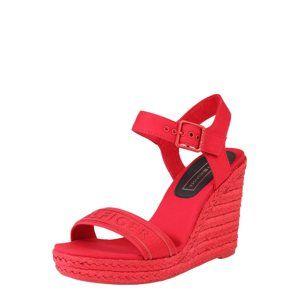 TOMMY HILFIGER Páskové sandály 'COLORFUL TOMMY WEDGE SANDAL'  červená