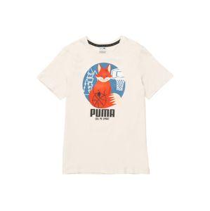 PUMA Tričko  bílá / černá / chladná modrá / tmavě oranžová