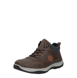 RIEKER Šněrovací boty  čokoládová / šedý melír