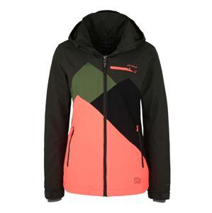 PROTEST Outdoorová bunda  černá / tmavě zelená / starorůžová