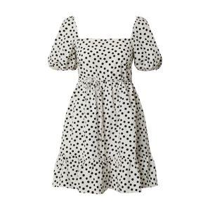 Miss Selfridge Letní šaty 'IVORY SPOT POP SMOCK'  slonová kost / černá