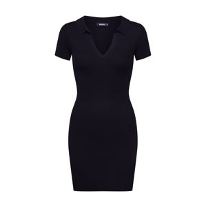 Missguided Šaty 'RIBBED ZIP NECK BODYCON DRESS'  černá