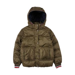 TOMMY HILFIGER Zimní bunda  olivová / bílá / červená