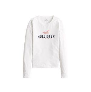 HOLLISTER Tričko 'TIMELESS'  bílá / růžová / marine modrá