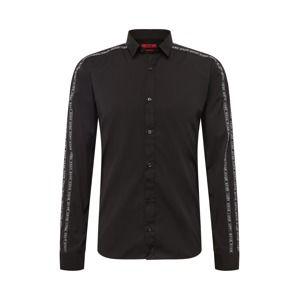 HUGO Košile  černá / bílá