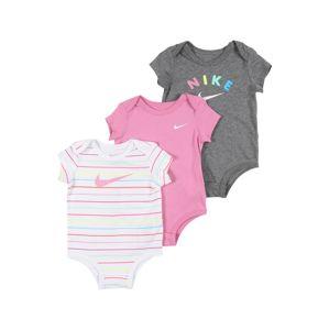 Nike Sportswear Dupačky/body 'RAINBOW STRIPE'  bílá / růžová / šedá