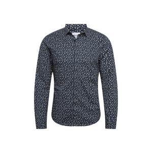 Only & Sons Košile 'Todd LS Cutaway'  světle béžová / námořnická modř