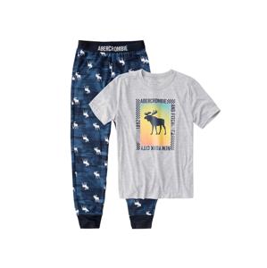 Abercrombie & Fitch Pyžamo  šedý melír / tmavě modrá / mix barev