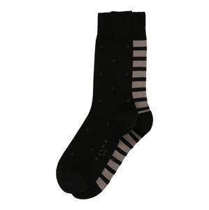 FALKE Ponožky 'Even Stripe Dot 2-Pack'  béžová / černá